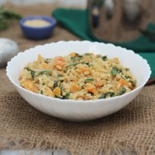 ThisButternut Squash Vegan Risotto with Caramelized onions Swiss Chard is a perfect Gluten Free Christmas, Holiday and Thanksgiving Recipe to satisfy all of your friends and family!