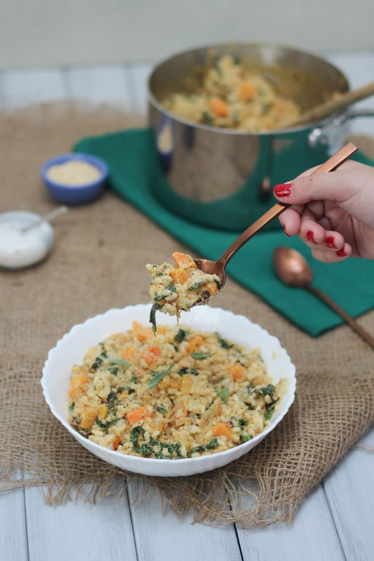 This Butternut Squash Vegan Risotto with Caramelized onions Swiss Chard is a perfect Gluten Free Christmas, Holiday and Thanksgiving Recipe to satisfy all of your friends and family!