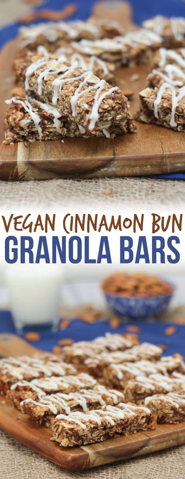 "A pinterest image of multiple cinnamon bun granola bars on a brown cutting board with the text overlay ""Vegan Cinnamon Bun Granola Bars.\"""