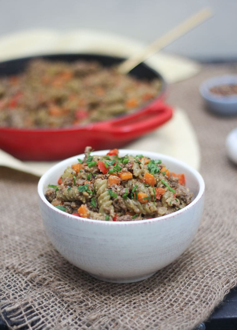 This Veggie Packed Vegan Hamburger Helper Copy Cat Recipe will quickly become a one-pot family staple that you and the kids will love!