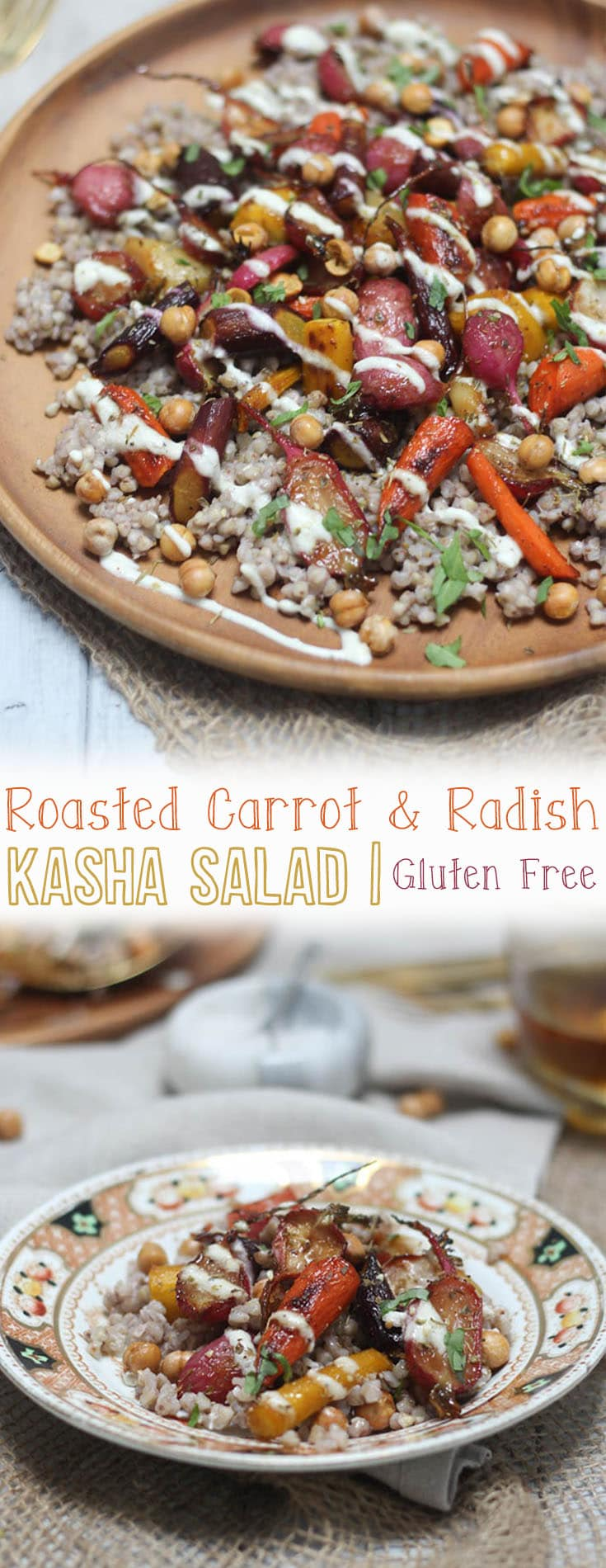 ThisGluten Free Roasted Carrot and Radish Kasha Salad with Crispy Chickpeas is an elegant side dish for entertaining, yet surprisingly simple enough to pull off for a weeknight meal.