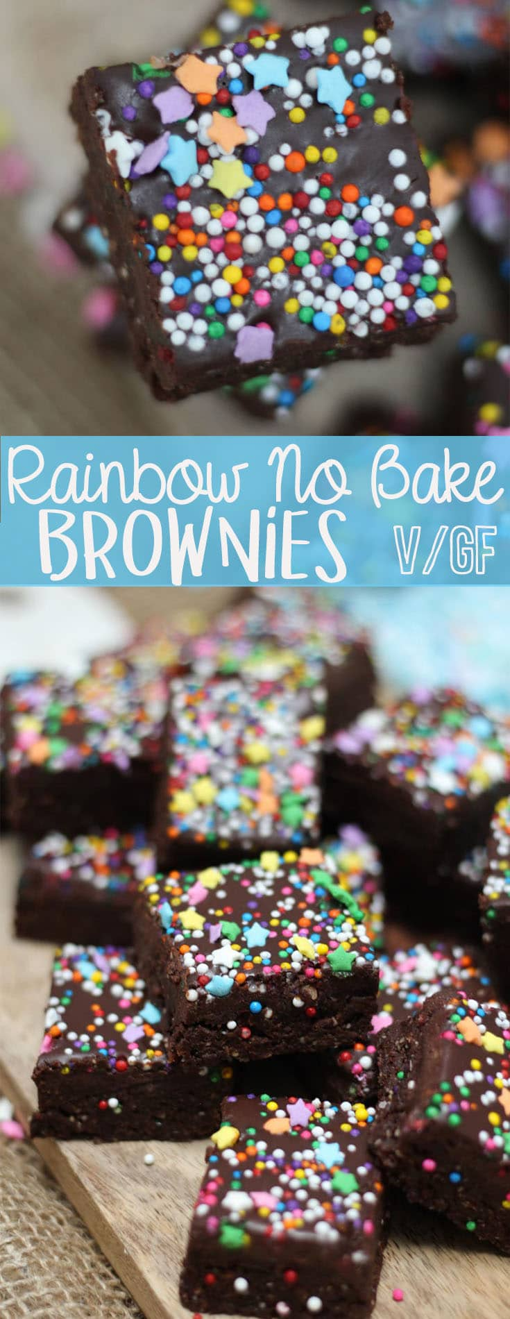 These Healthy Rainbow No Bake Brownies are easy, vegan and gluten free.  #nobake #healthydessert #brownies #dates #rainbow #vegandessert
