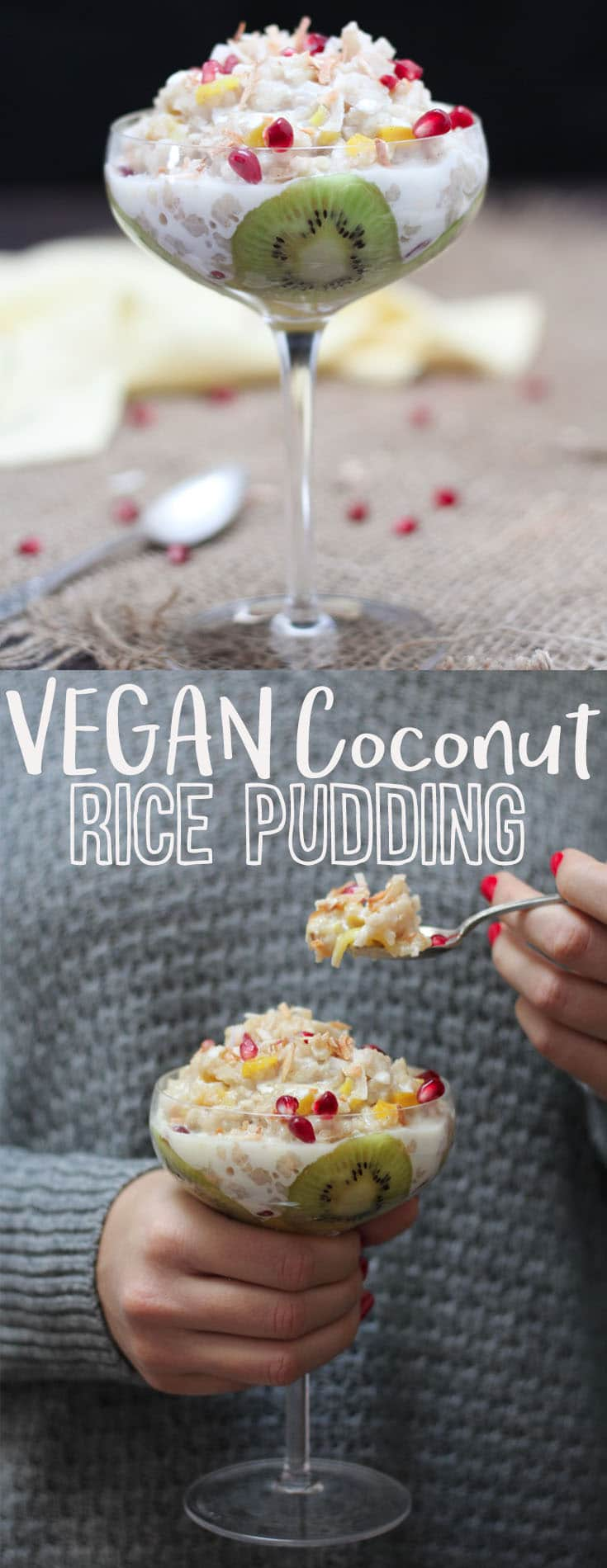 "A pinterest image of rice pudding with text overlay ""Vegan Coconut Rice Pudding.\"""