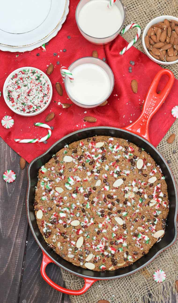 This Vegan Candy Cane Skillet Cookie is the perfect plant-based gluten free holiday dessert for entertaining friends and family this Christmas!