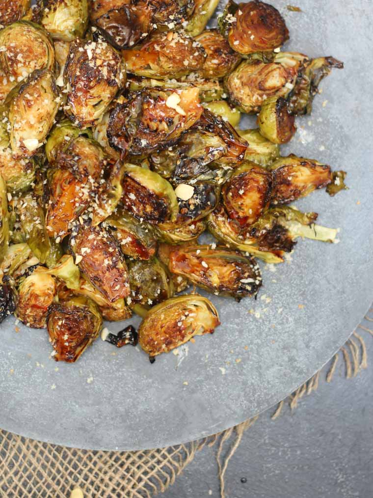 birds eye view of sweet chilli roasted brussels sprouts