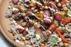 Gluten Free Roasted Carrot and Radish Kasha Salad with Crispy Chickpeas