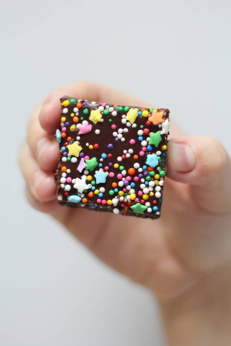Hand holding one brownie with sprinkles.