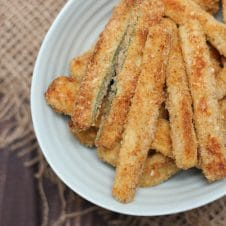 A plate of rosemary baked zucchini fries.