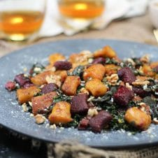 This Gluten Free Beet Gnocchi with Brown Butter Rainbow Chard is an elegant vegetarian holiday Christmas main dish.