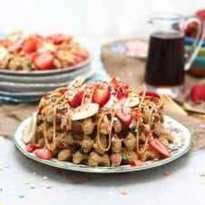 It doesn't have to be your birthday to start your day off right with these healthy gluten free birthday cake protein waffles.