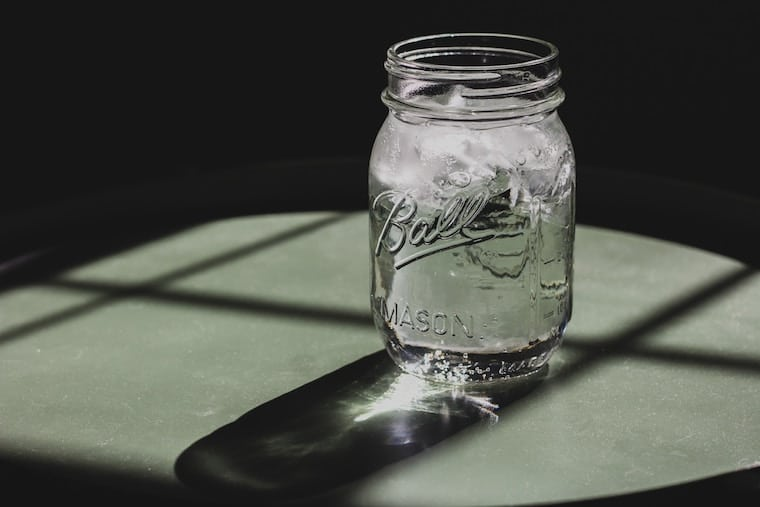 ice water in a mason jar
