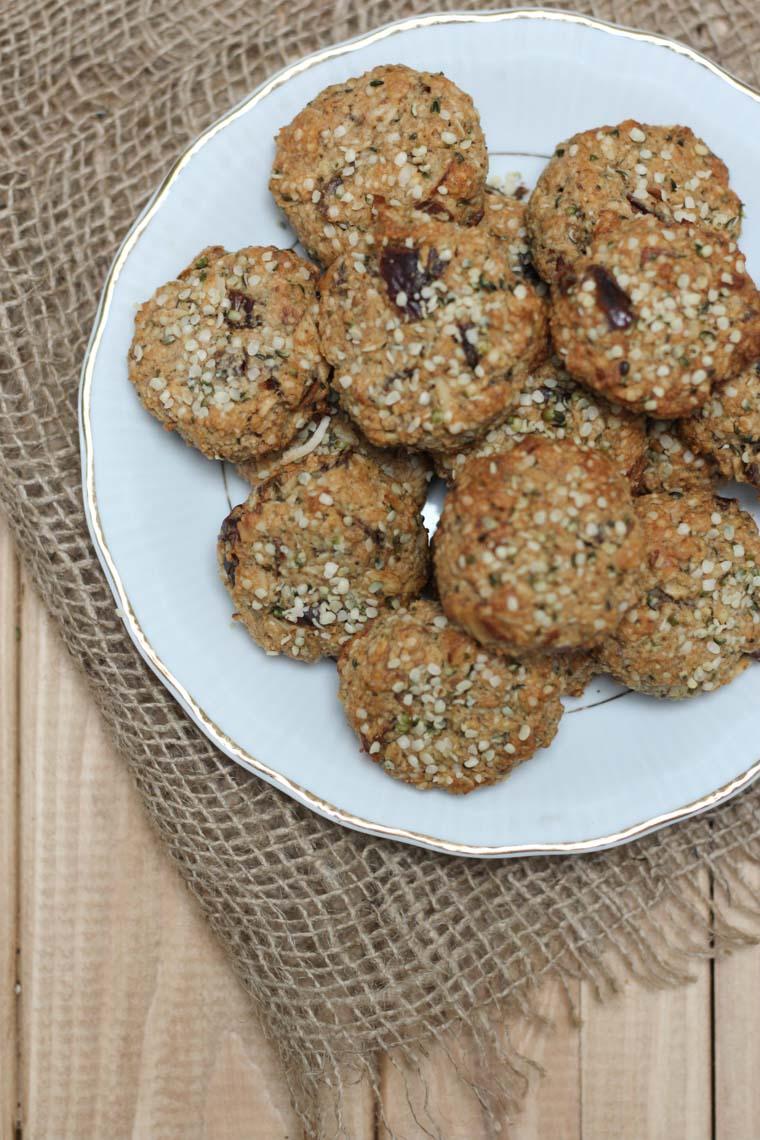 A plate of hemp heart breakfast cookies.