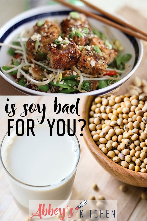 pinterest image of Crispy tofu in a bowl and soy milk in a glass with text overlay.