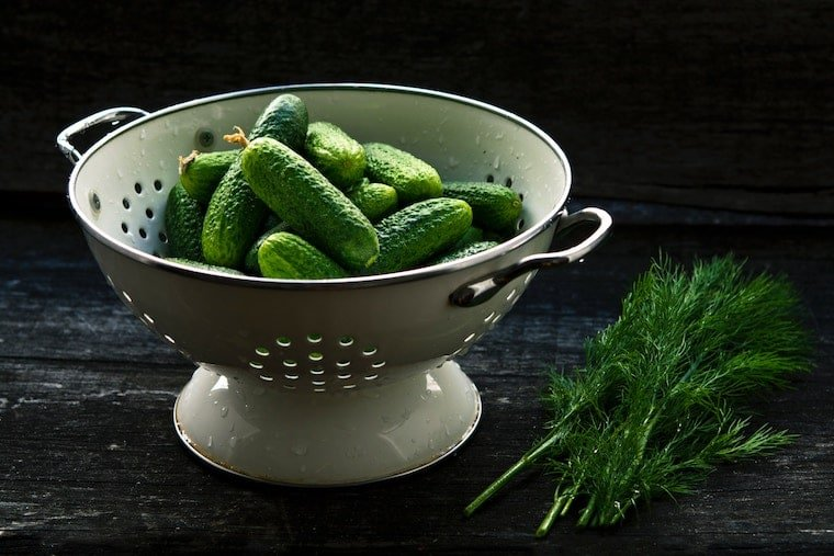 vegetables in a colander