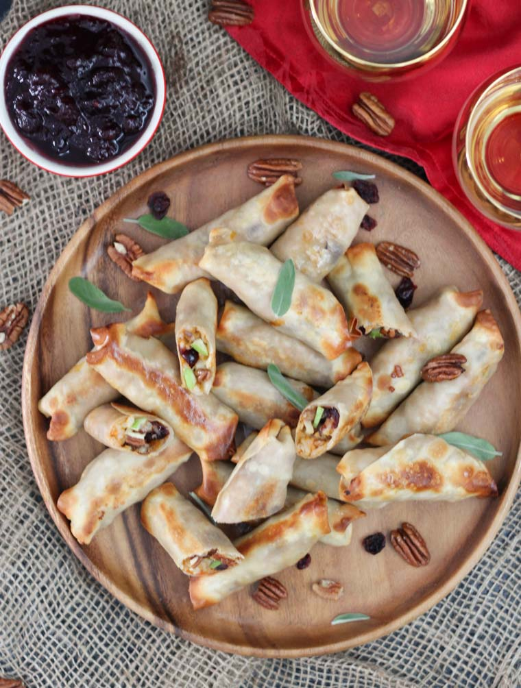 These sweet potato risotto baked spring rolls make the perfect vegan and gluten free holiday appetizer for entertaining guests with intolerances!