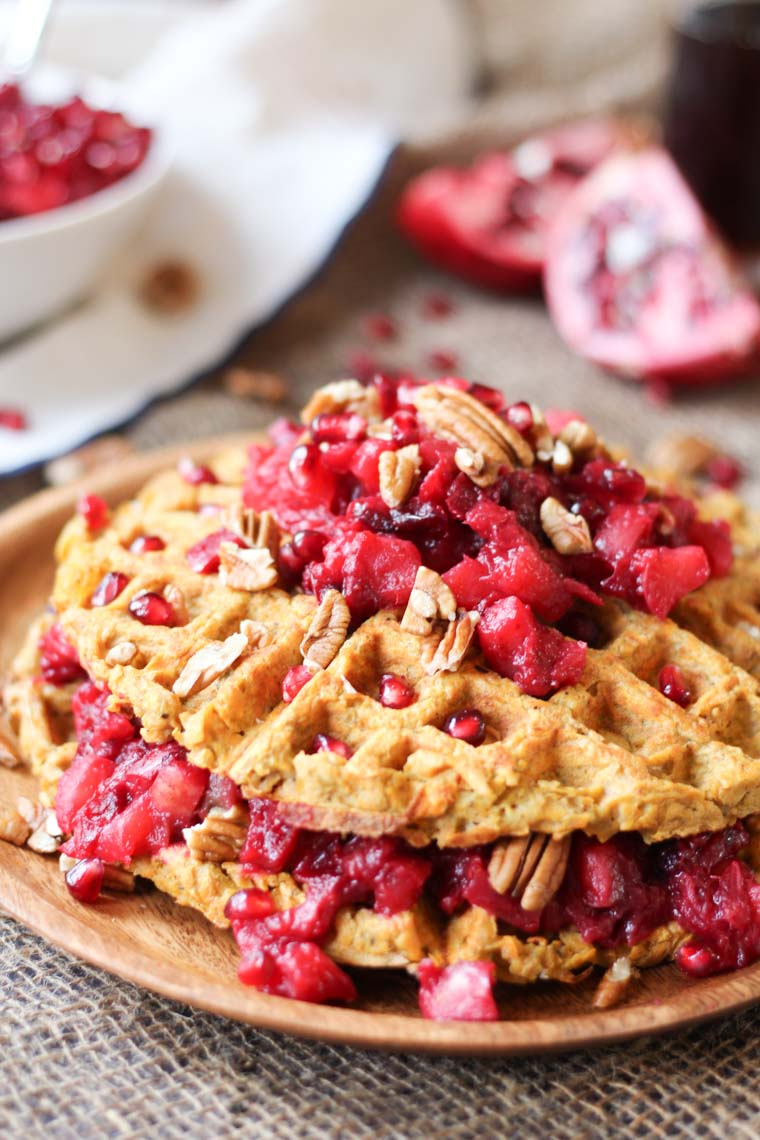 TheseGluten Free Sweet Potato Waffle Latkes with Paleo Cranberry Apple Compote will become a cool-weather favourite brunch recipe your whole family will love!