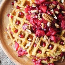 These Gluten Free Sweet Potato Waffle Latkes with Paleo Cranberry Apple Compote will become a cool-weather favourite brunch recipe your whole family will love!