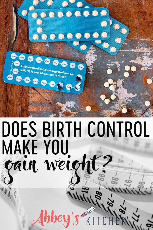 pinterest image of Packs of birth control scattered on a table and a roll of measuring tape with text oerlay