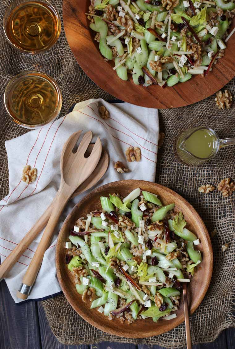 ThisVegan Gluten Free Celery, Kasha and Tofu Feta Salad is a perfect winter salad for easy entertaining any night of the week!