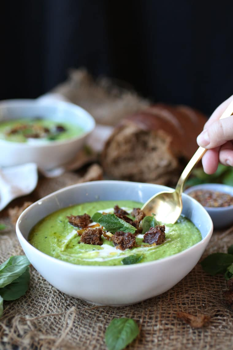 This Vegan Pea, Mint and Coconut Soup is a delicious Gluten Free Healthy Soup Recipe that is a great St. Patrick's Day recipe!