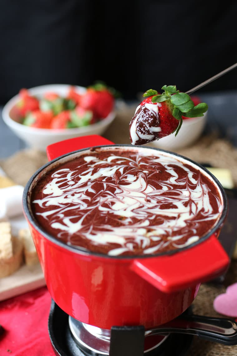This Healthy Red Velvet Fondue is a perfect Gluten Free and Red Food Dye Free treat for Valentine's Day that your sweetie will love!