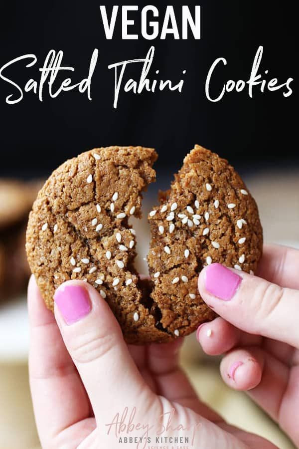 pinterest image of salted tahini cookies