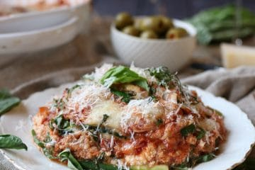 I share my new favourite low carb easy dinner recipe forKeto Gluten Free Zucchini Lasagna with Turkey Ragu, perfect for adults and picky kids alike!