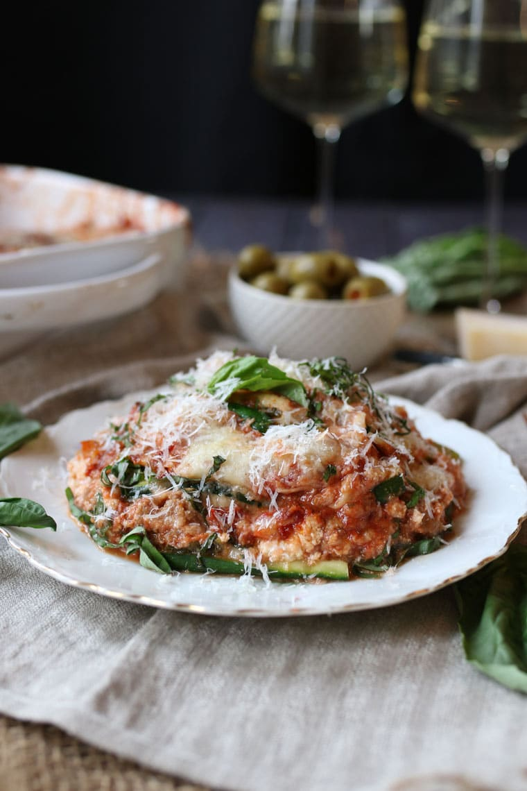 Keto Gluten Free Zucchini Lasagna with Turkey Sausage Ragu | Low