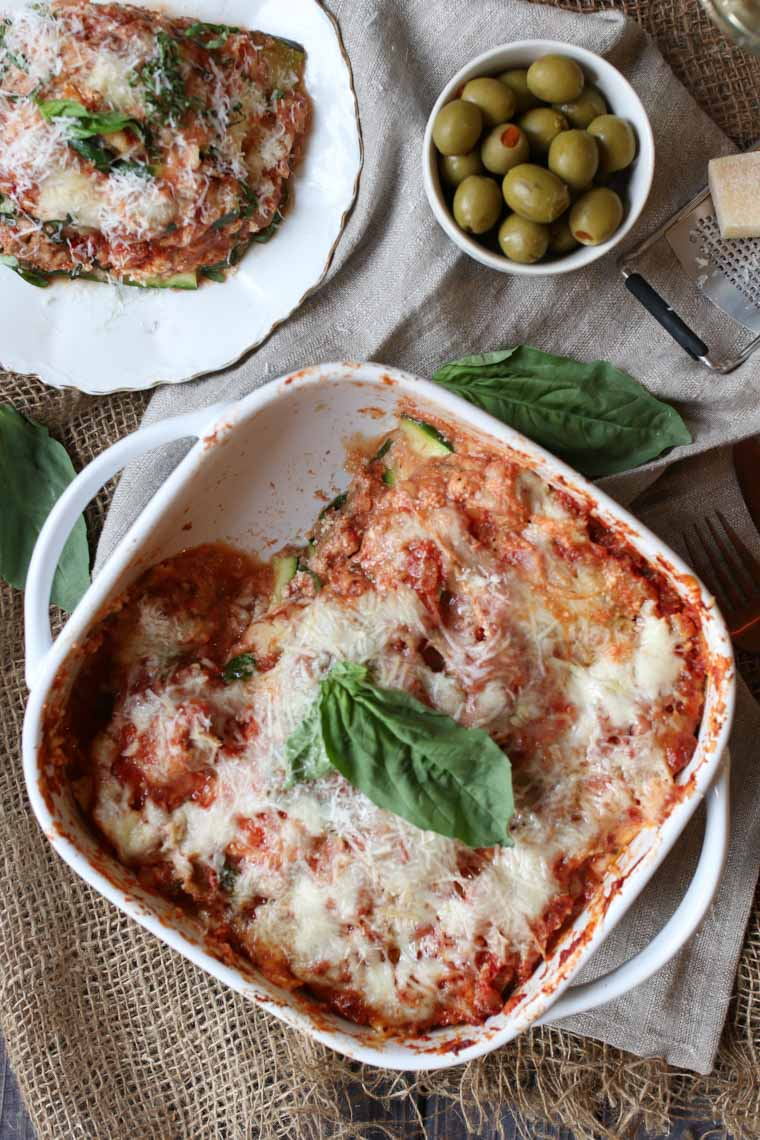 I share my new favourite low carb easy dinner recipe for Keto Gluten Free Zucchini Lasagna with Turkey Ragu, perfect for adults and picky kids alike!