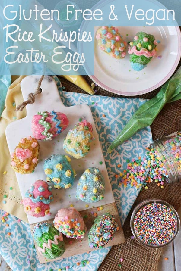 TheseVegan Gluten Free Rice Krispies Easter Eggs with Homemade Vegan White Chocolate that is easy for the whole family to decorate with different colours, sprinkles and candies! #eastereggs #easter #vegan #glutenfree #ricekrispies #sprinkles #dessert #healthydessert