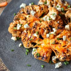 These easy vegetarian gluten free buffalo cauliflower steaks are the perfect dish for a healthy meatless dinner option.