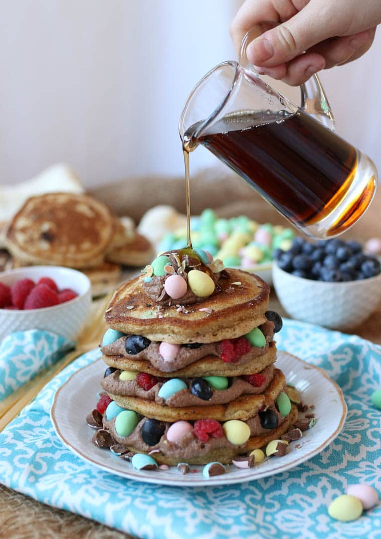 These Mini Eggs Gluten Free Protein Pancakes will become a hit for Easter brunch and every day after that!