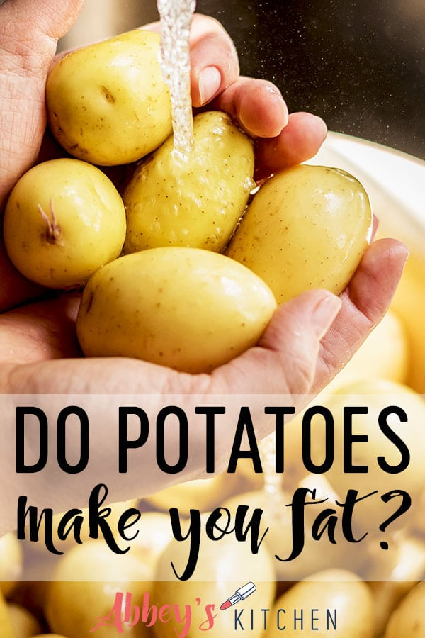 pinterest image of Two hands holding yellow flesh potatoes under running water with text overlay