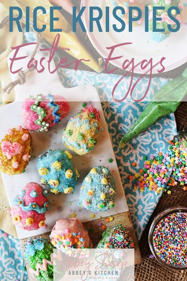 pinterest image of easter themed rice krispie eggs on a serving plate with sprinkles with text overlay