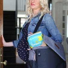 Abbey Sharp with her essential hospital go-bag with pampers.