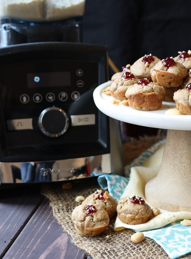 These Gluten Free and Vegan PB & J Banana Mini Blender Muffins for Mother's Day will become a tasty treat to share with the moms in your life.