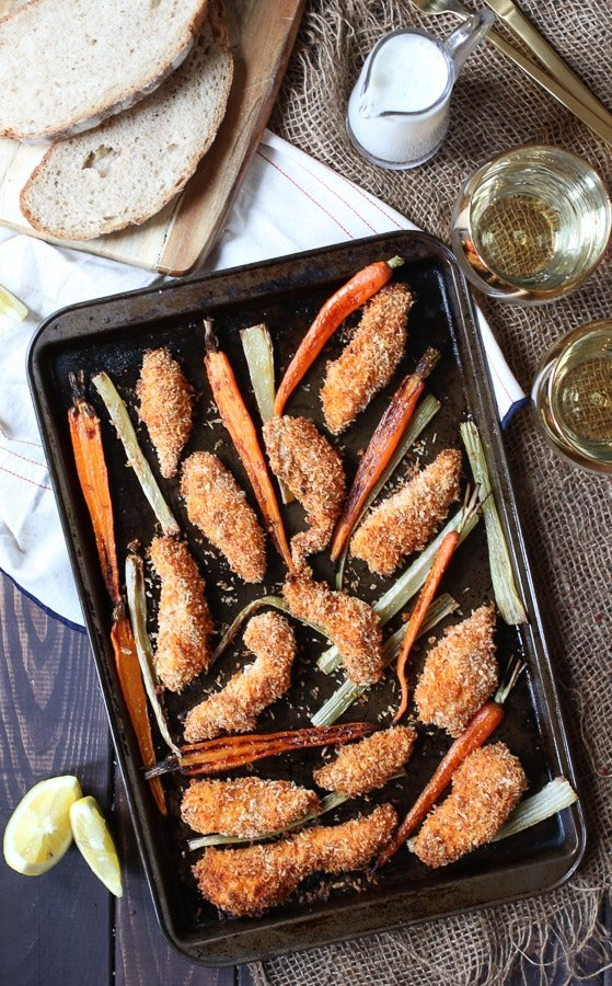 This Gluten Free Buffalo Chicken Fingers Sheet Pan Dinner with Roasted Carrots and Celery is a simple one pan wonder that also make great freezer meals for crazy nights.