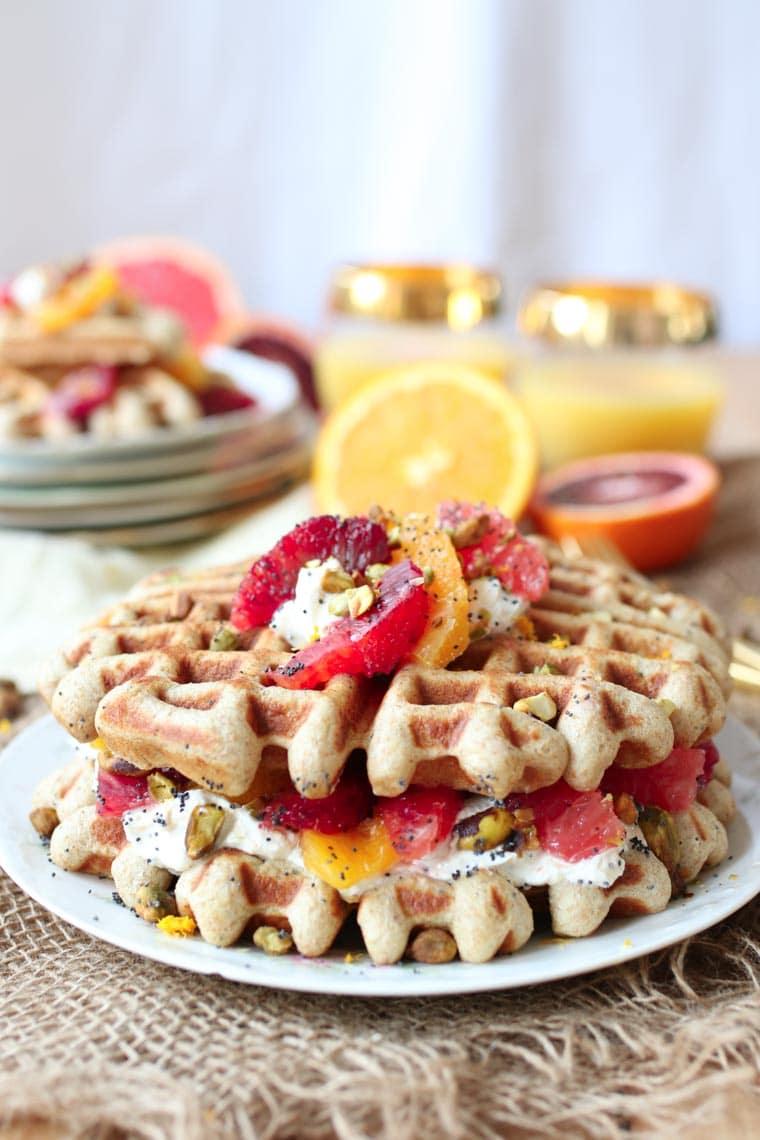 Vegan orange poppyseed waffle.