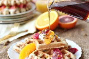 TheseVegan Orange Poppyseed Waffles are the perfect Healthy Mother's Day Brunch recipe that are packed with fibre and natural sweetness!
