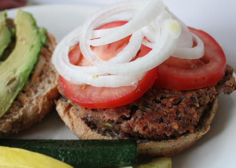 Kidney bean and quinoa veggie burgers.