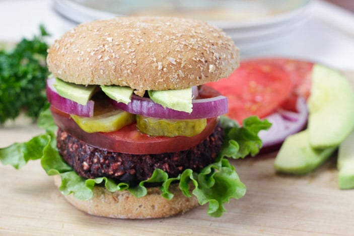 Black bean beet burger.