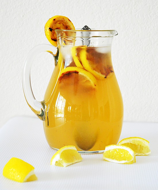 Grilled lemonade in a pitcher.