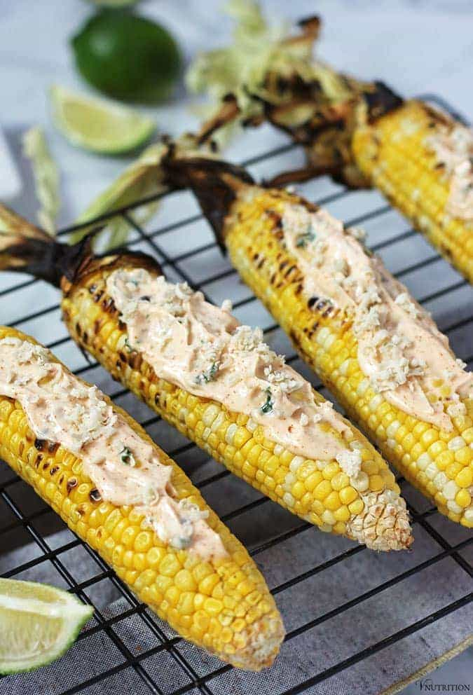 Corn on the cob on a rack.