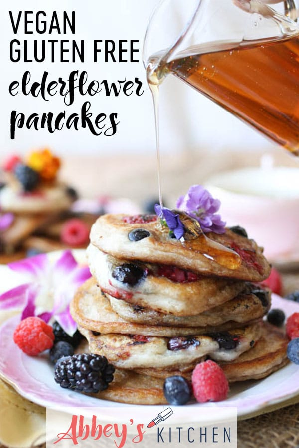 TheseGluten Free Vegan Elderflower Pancakes are perfect for any Mother's Day Brunch or any other weekend treat. #veganeats #glutenfree #pancakes #elderflower #brunch #mothersday