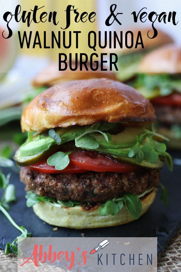 This Gluten Free Vegan Walnut Quinoa Burgers is the perfect for summer entertaining. #summer #burger #plantbased #veganeats #veganburger #glutenfreefood #healthyfood #summerfood #potluck #bbq #delicious #summertime