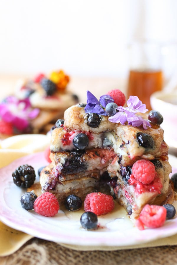 TheseGluten Free Vegan Elderflower Pancakes are perfect for any Mother's Day Brunch or any other weekend treat.