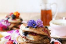 These Gluten Free Vegan Elderflower Pancakes are perfect for any Mother's Day Brunch or any other weekend treat.