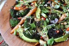 This Gluten Free Vegan Grilled Broccoli, Carrot and Avocado Salad with Sesame Dressing is the perfect balanced salad recipe for Summer grilling or BBQ entertaining or weeknight meals.