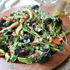 ThisGluten Free Vegan Grilled Broccoli, Carrot and Avocado Salad with Sesame Dressing is the perfect balanced salad recipe for Summer grilling or BBQ entertaining or weeknight meals.