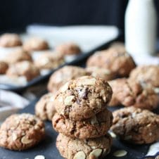 These Salted Chocolate Almond Vegan Lactation Cookies are perfect gluten free plant-based breastfeeding snacks for nursing moms!